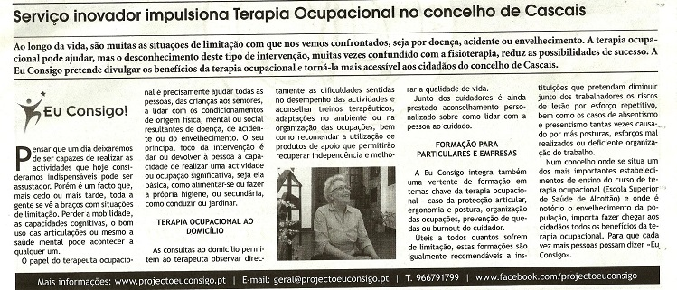 Eu Consigo no Jornal Costa do Sol - Maio 2015